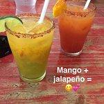 mango margarita and jalapeno mango margarita
