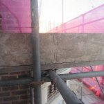 View from side window of scaffolding