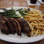 ribs, shoestring fries and asparagus (which I'd cut up)