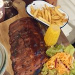 Barbeque Rib dinner served with choice of sides.