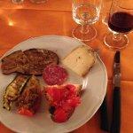 Grilled zucchini, eggplant bruschetta, delicious pecorino cheese
