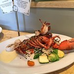 Crab and shrimp stuffed half Maine lobster, yummy!