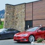 two beautiful Tesla Motor cars charging at the Boulder Inn