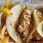 Chicken strips good Fried mahi mahi very good Fish tacos amazing Grilled shimp, fried okra, chee
