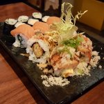 volcano salmon roll, crispy roll, salmon roll, kappa maki and tamago maki