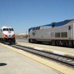 NM Rail Runner and Amtrak's Southwest Chief meet in Albuquerque, NM...