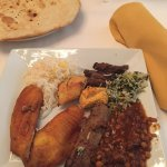 Flat bread, Tilapia, chicken, beef 2 ways, lentils, rice ... YUM!