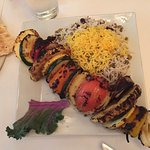 The roasted vegetable kabob!