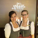The lovely staff in Bavarian dress at Platzl Hotel (18/May/17).