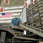 The longest free standing escalator that leads you to CNN Center