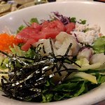 Hwedupbap - mixed sashimi with rice & vegetables
