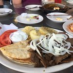 My Gyro Platter (small piece of Flaming cheese in background)
