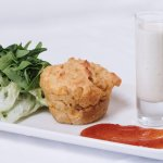 Sweetcorn Fritter, chilli jam, Thai green  soup shot