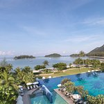 The Danna Langkawi is surrounded by sandy beach, lush hills and a marina on the other side