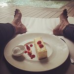 Lunch by the pool...American cheese cake