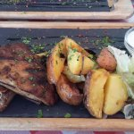 Grilled pork ribs with potatoes