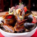 fresh clams with chorizo and herbs