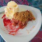 Homemade strawberry rudbard pie