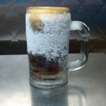 Enjoy our homemade root beer in a frosty mug!