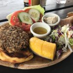 Lentil burger at the Pool Bar