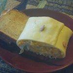 Salmon breakfast roll and toast.