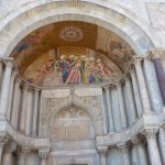 The magnificient paintings at the entrance of San Marco Cathedral Venice Italy