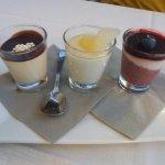 Tris di semifreddi - cioccolato, pera&zenzero, frutti di bosco