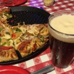 """Mushroom and peppers large/14"""" Pie and Farmer's Daughter Draft Beer"""