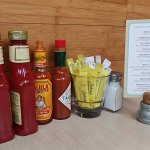 Condiments and drink menu