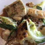 Turbot with chicken wing, jus, samphire and Spring vegetables
