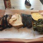 brisket, turkey, and pork ribs, collards