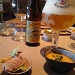 Tripel Karmeliet, wasabi krupuk, ham mousse and gazpacho at Artisjok (Oostende)