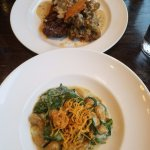 sweet potato gnocchi and the special NY dry aged 10 steak with mushroom risotto and a Parmesan c