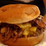 Bacon Double Cheeseburger with onions