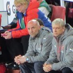 Our revered Manager, Arsene Wenger (right) looking serious, as usual