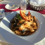 El Riscos house special (lobster tail and seafood over pasta)