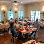 Large dining room is light and airy at Wedgwood Inn, New Hope, Bucks County, Pa