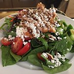 West coast spinach salad with local smoke salmon