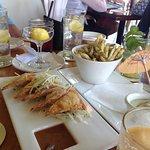 appetizers, pork potstickers, Furikake fries with great wasabi aioli
