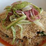 quinoa encrusted local fish