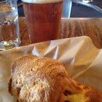Popover and beer, pork rouladen and lemon pot du creme