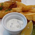 Fish and chips ... I love the fact that the dishes come with fat chips and not skinny french fri