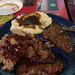 Brisket and Pulled Pork w/mashed potato and gravy and beans