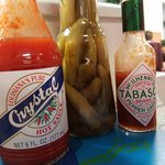 How to tell you're in a good restaurant: both kinds of hot sauce.
