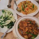 Sinaporean one dish choice - recommended. Slow braised beef stew and galic sauced choi sum