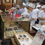 workers preparing and packing the mochi