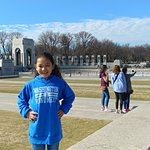 Our beautiful daughter in front of WWII Memorial