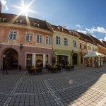 La Ceaun in the Old Market of Brasov (Piata Sfatului), next to the Black Church.