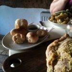Vegan dough balls, calzone and pasta