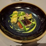 Smoked eel with chicken canneloni